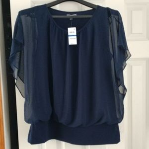 NWT JM Collection Flowy Navy Blue dressy top